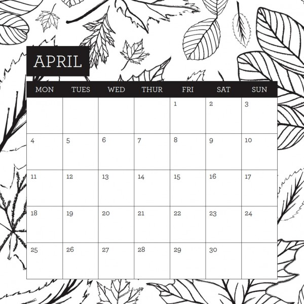 2016 etch and co colouring calendar april